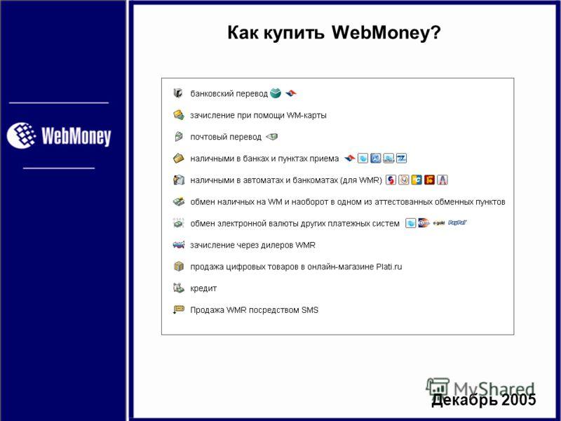 Декабрь 2005 Как купить WebMoney?