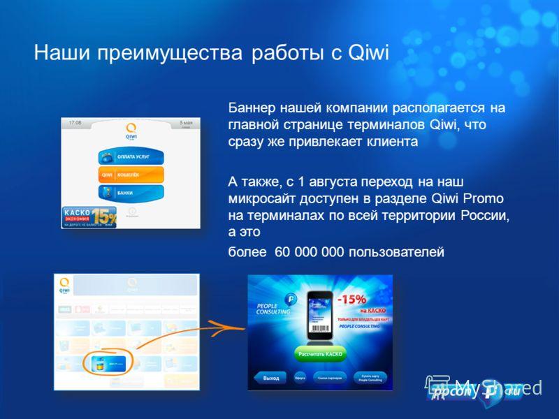 Баннер нашей компании располагается на главной странице терминалов Qiwi, что сразу же привлекает клиента А также, с 1 августа переход на наш микросайт доступен в разделе Qiwi Promo на терминалах по всей территории России, а это более 60 000 000 польз