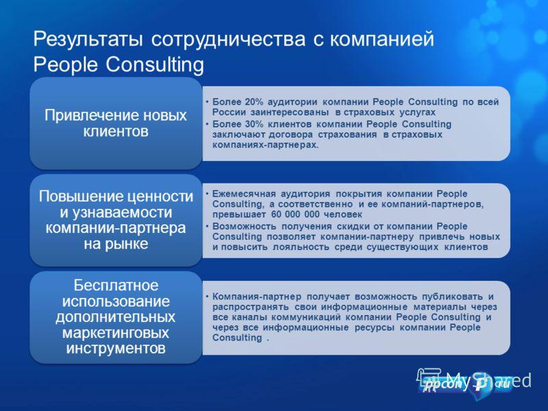 Результаты сотрудничества с компанией People Consulting Более 20% аудитории компании People Consulting по всей России заинтересованы в страховых услугах Более 30% клиентов компании People Consulting заключают договора страхования в страховых компания