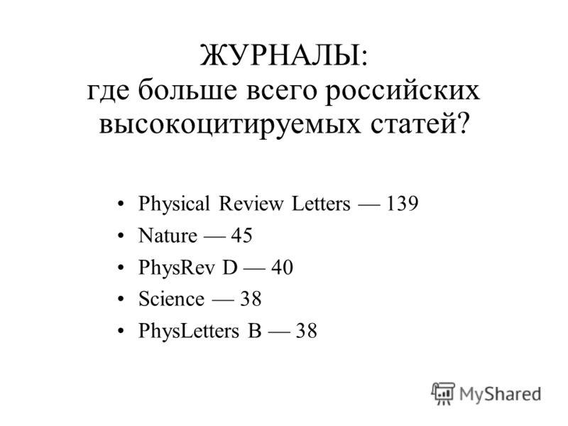 ЖУРНАЛЫ: где больше всего российских высокоцитируемых статей? Physical Review Letters 139 Nature 45 PhysRev D 40 Science 38 PhysLetters B 38