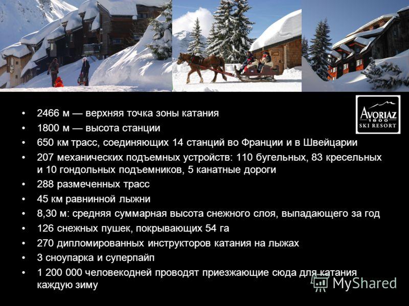 http://www.avoriaz.com/vacances-ski/ 2466 м верхняя точка зоны катания 1800 м высота станции 650 км трасс, соединяющих 14 станций во Франции и в Швейцарии 207 механических подъемных устройств: 110 бугельных, 83 кресельных и 10 гондольных подъемников,
