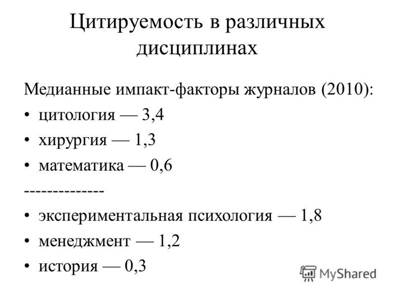 Цитируемость в различных дисциплинах Медианные импакт-факторы журналов (2010): цитология 3,4 хирургия 1,3 математика 0,6 -------------- экспериментальная психология 1,8 менеджмент 1,2 история 0,3