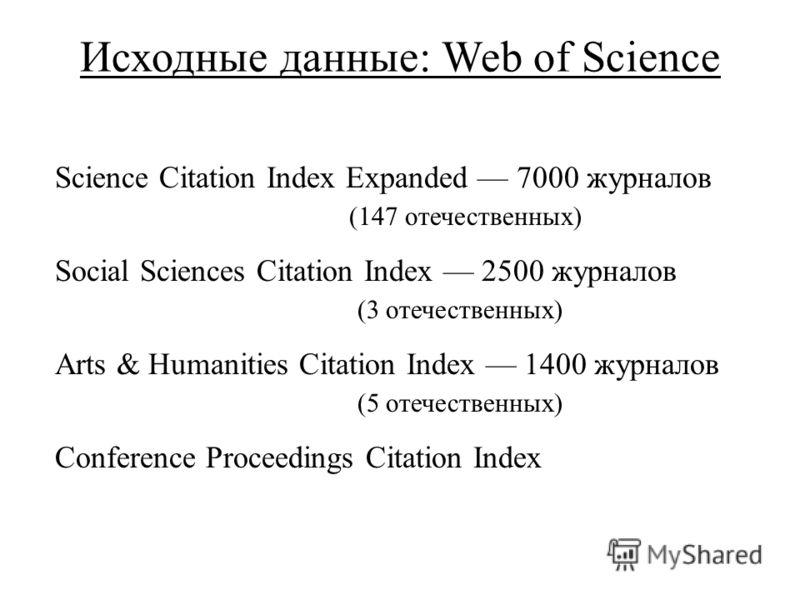Исходные данные: Web of Science Science Citation Index Expanded 7000 журналов (147 отечественных) Social Sciences Citation Index 2500 журналов (3 отечественных) Arts & Humanities Citation Index 1400 журналов (5 отечественных) Conference Proceedings C