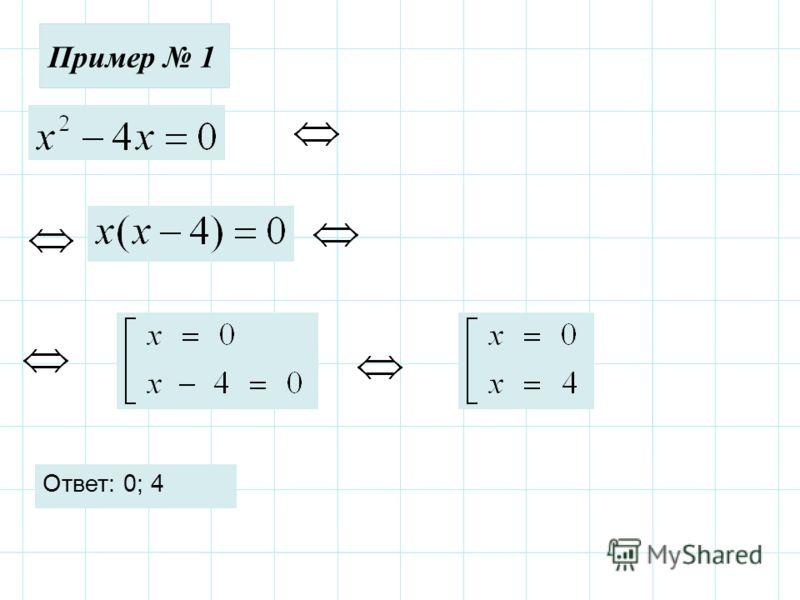 Пример 1 Ответ: 0; 4