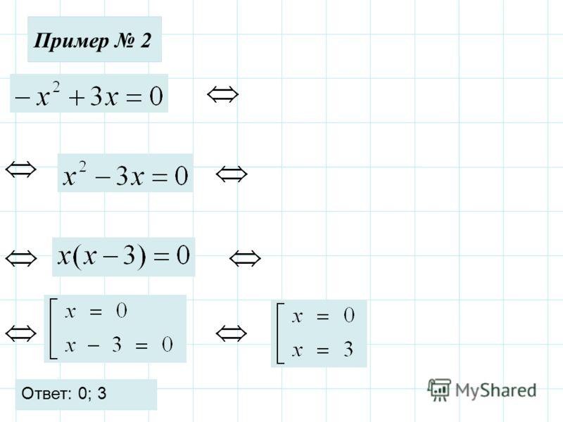 Пример 2 Ответ: 0; 3
