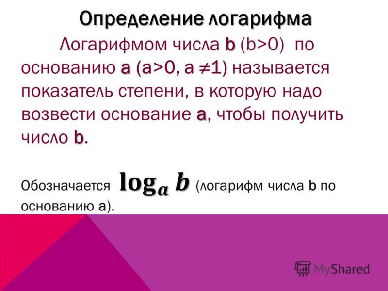 Определение логарифма