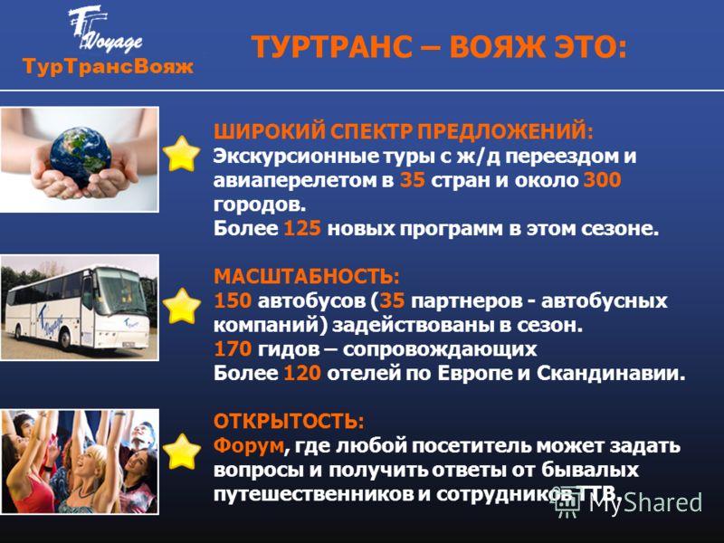 Тур ТрансВояж ТУРТРАНС – ВОЯЖ ЭТО: ШИРОКИЙ СПЕКТР ПРЕДЛОЖЕНИЙ: Экскурсионные туры с ж/д переездом и авиаперелетом в 35 стран и около 300 городов. Более 125 новых программ в этом сезоне. МАСШТАБНОСТЬ: 150 автобусов (35 партнеров - автобусных компаний)