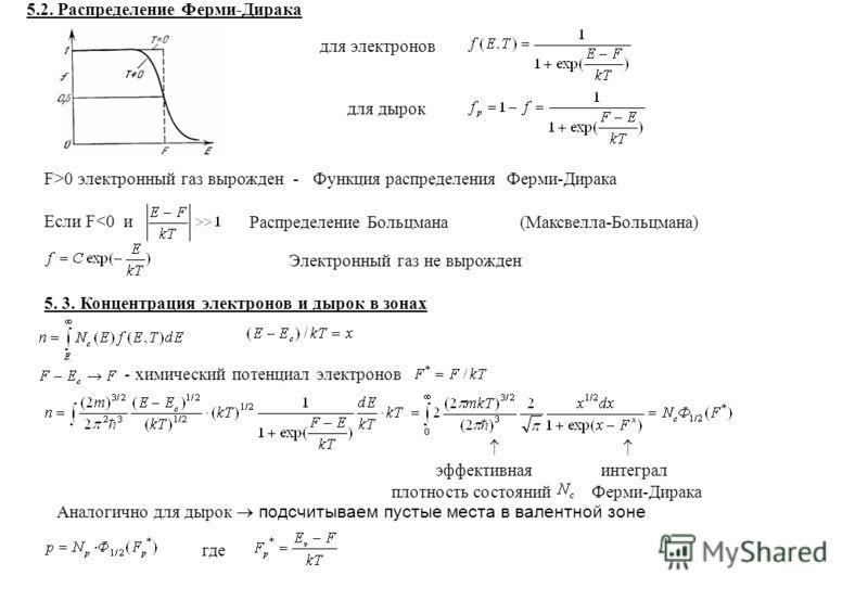 5.2. Распределение Ферми-Дирака для электронов F>0 электронный газ вырожден - Функция распределения Ферми-Дирака Если F