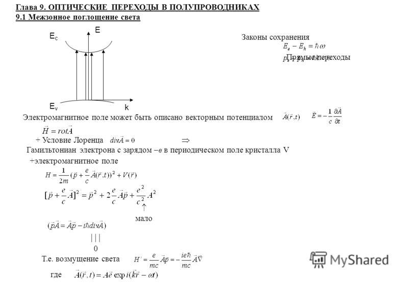 + Условие Лоренца Гамильтониан электрона с зарядом e в периодическом поле кристалла V +электромагнитное поле мало 0 Т.е. возмущение света где EcEvEcEv E k Глава 9. ОПТИЧЕСКИЕ ПЕРЕХОДЫ В ПОЛУПРОВОДНИКАХ 9.1 Межзонное поглощение света Законы сохранения