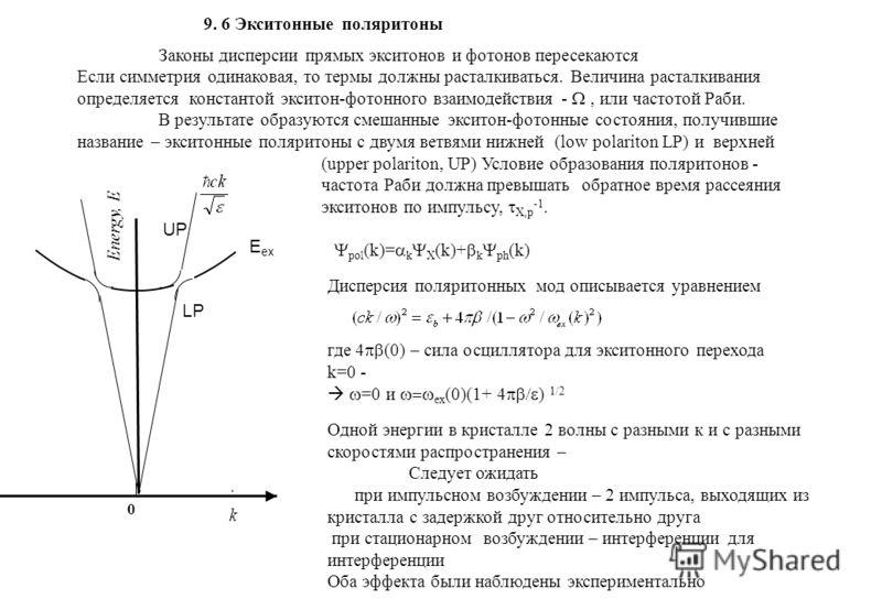 k Energy, E 0 E ex UP LP 9. 6 Экситонные поляритоны Законы дисперсии прямых экситонов и фотонов пересекаются Если симметрия одинаковая, то термы должны расталкиваться. Величина расталкивания определяется константой экситон-фотонного взаимодействия -,