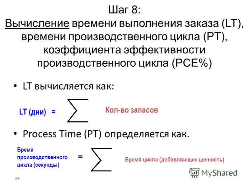 24 Шаг 8: Вычисление времени выполнения заказа (LT), времени производственного цикла (PT), коэффициента эффективности производственного цикла (PCE%) LT вычисляется как: Process Time (PT) определяется как. LT (дни) = Кол-во запасов Время производствен