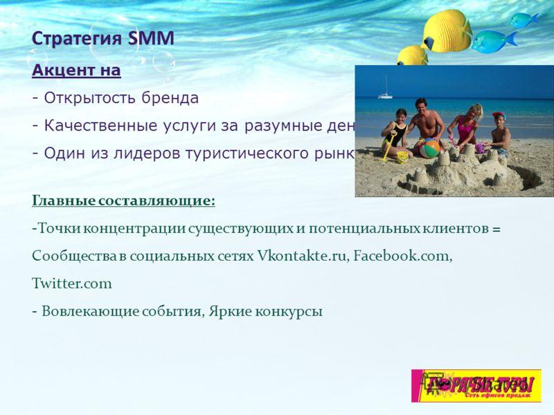 Стратегия SMM Акцент на - Открытость бренда - Качественные услуги за разумные деньги - Один из лидеров туристического рынка Главные составляющие: -Точки концентрации существующих и потенциальных клиентов = Сообщества в социальных сетях Vkontakte.ru,