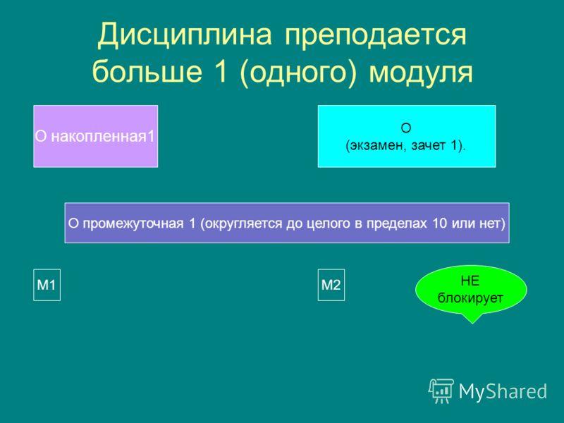 Дисциплина преподается больше 1 (одного) модуля О накопленная 1 О (экзамен, зачет 1). О промежуточная 1 (округляется до целого в пределах 10 или нет) M1M1M2M2 НЕ блокирует