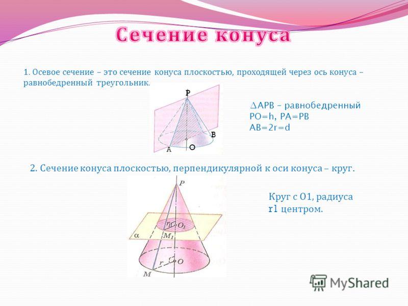 Тело, ограниченное конической поверхностью и кругом, называется конусом. Коническая поверхность называется боковой поверхностью конуса. Круг с центром О радиуса r – основание конуса. Отрезок РА – образующая конуса. Отрезок РО – ось конуса и высота ко