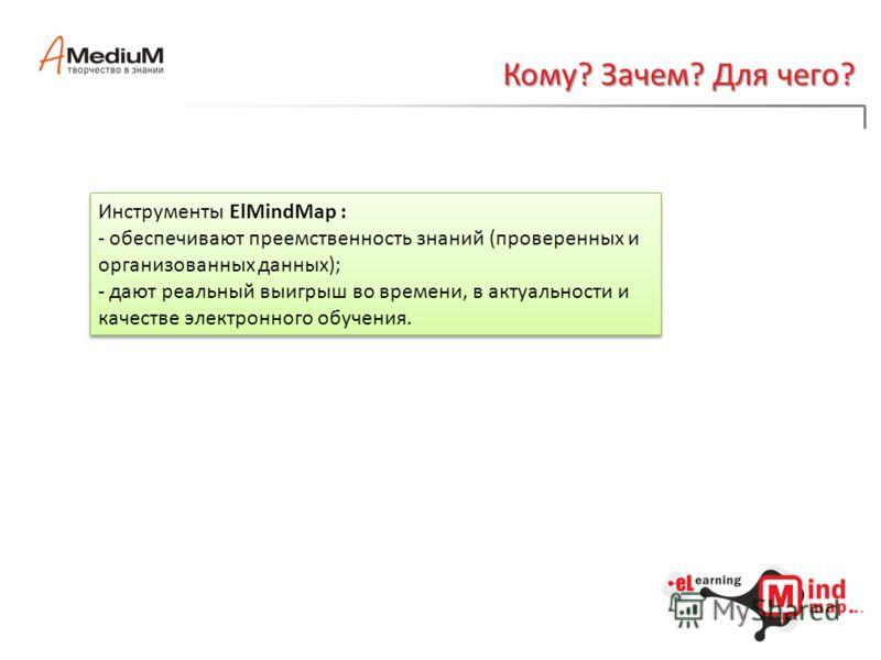 Кому? Зачем? Для чего? Инструменты ElMindMap : - обеспечивают преемственность знаний (проверенных и организованных данных); - дают реальный выигрыш во времени, в актуальности и качестве электронного обучения. Инструменты ElMindMap : - обеспечивают пр