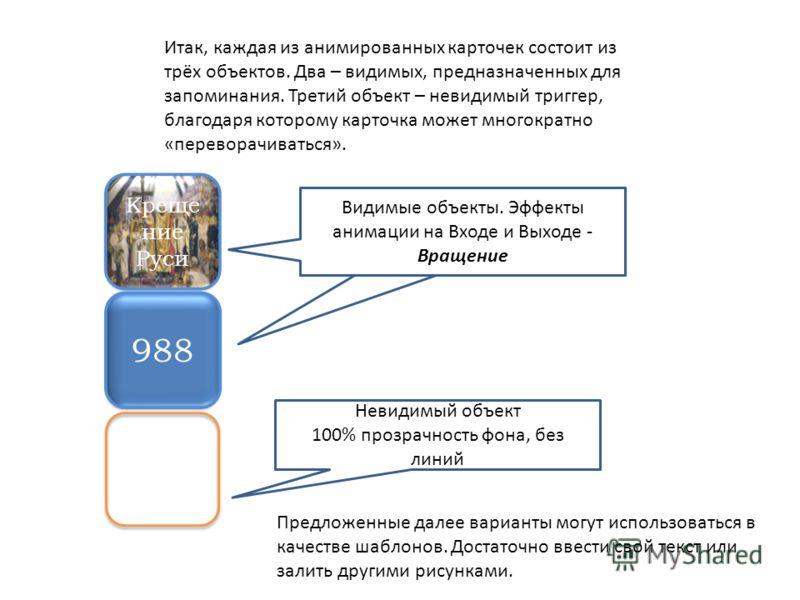 Крещение Руси 988 Предложенные далее варианты могут использоваться в качестве шаблонов. Достаточно ввести свой текст или залить другими рисунками. Итак, каждая из анимированных карточек состоит из трёх объектов. Два – видимых, предназначенных для зап