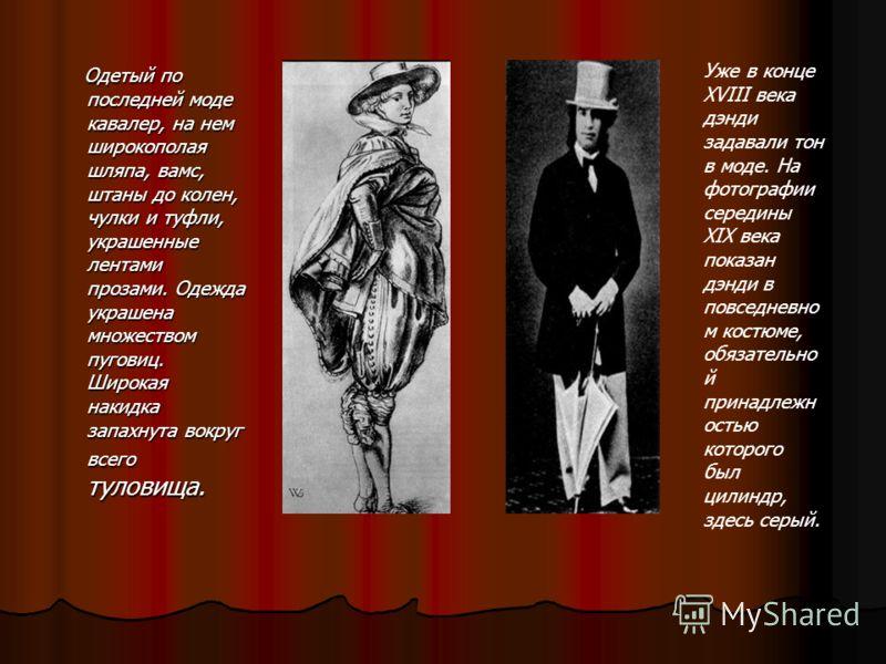 Одетый по последней моде кавалер, на нем широкополая шляпа, вамс, штаны до колен, чулки и туфли, украшенные лентами прозами. Одежда украшена множеством пуговиц. Широкая накидка запахнута вокруг всего туловища. Уже в конце XVIII века дэнди задавали то