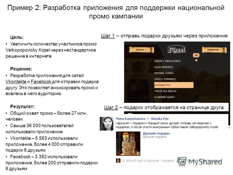 Пример 2: Разработка приложения для поддержки национальной промо кампании Шаг 1 – отправь подарки друзьям через приложение Шаг 2 – подарок отображается на странице друга Цель: Увеличить количество участников промо Velkopopovicky Kozel через нестандар