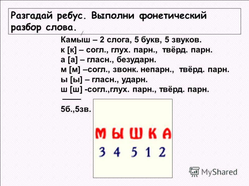 Схема фонетического разбора 1 класс