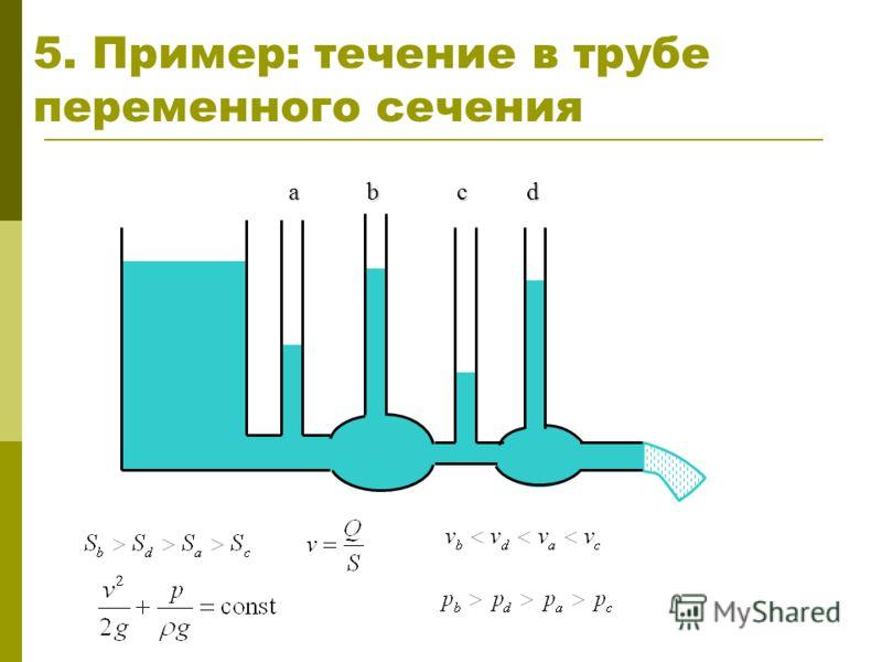 5. Пример: течение в трубе переменного сечения a bcd