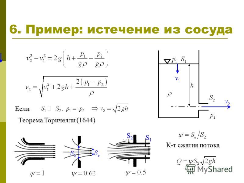 6. Пример: истечение из сосуда Если Теорема Торичелли (1644) S1S1S1S1 S2S2S2S2 К-т сжатия потока