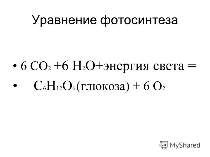 Уравнение фотосинтеза 6 СО 2 +6 Н 2 О+энергия света = С 6 Н 12 О 6 (глюкоза) + 6 О 2