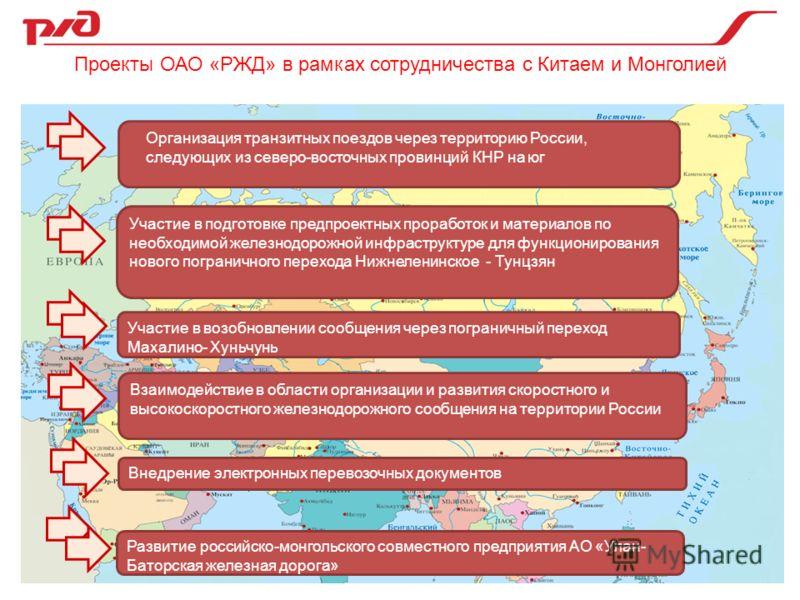 Внедрение электронных перевозочных документов Организация транзитных поездов через территорию России, следующих из северо-восточных провинций КНР на юг Участие в подготовке предпроектных проработок и материалов по необходимой железнодорожной инфрастр