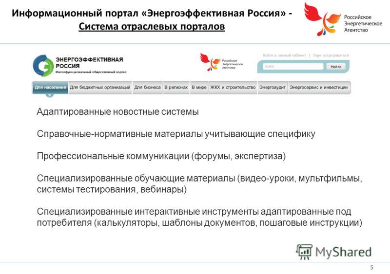 Информационный портал «Энергоэффективная Россия» - Система отраслевых порталов 5 Адаптированные новостные системы Справочные-нормативные материалы учитывающие специфику Профессиональные коммуникации (форумы, экспертиза) Специализированные обучающие м