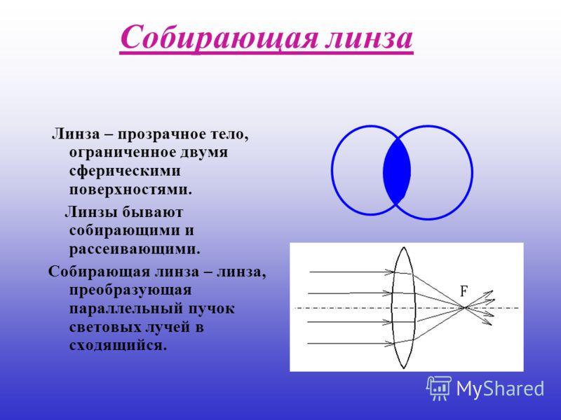 Собирающая линза Линза – прозрачное тело, ограниченное двумя сферическими поверхностями. Линзы бывают собирающими и рассеивающими. Собирающая линза – линза, преобразующая параллельный пучок световых лучей в сходящийся.