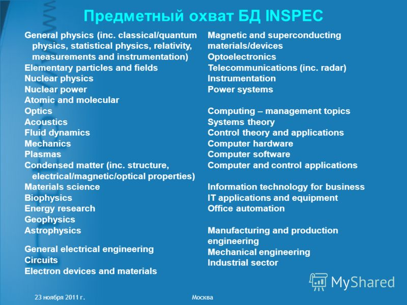Предметный охват БД INSPEC 23 ноября 2011 г. Москва General physics (inc. classical/quantum physics, statistical physics, relativity, measurements and instrumentation) Elementary particles and fields Nuclear physics Nuclear power Atomic and molecular