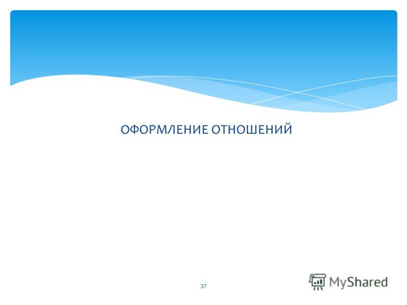ОФОРМЛЕНИЕ ОТНОШЕНИЙ 37