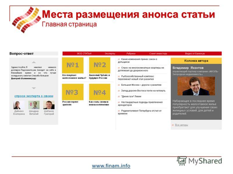 www.finam.info Места размещения анонса статьи Главная страница