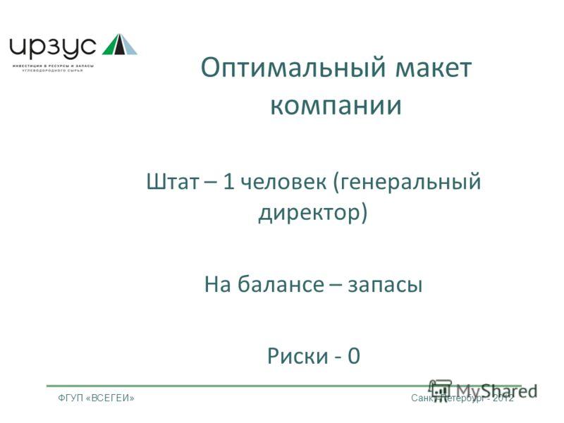 Оптимальный макет компании Штат – 1 человек (генеральный директор) На балансе – запасы Риски - 0 ФГУП «ВСЕГЕИ» Санкт-Петербург - 2012