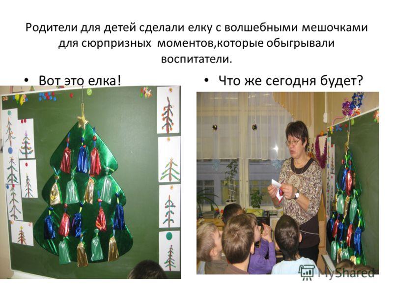 Родители для детей сделали елку с волшебными мешочками для сюрпризных моментов,которые обыгрывали воспитатели. Вот это елка! Что же сегодня будет?