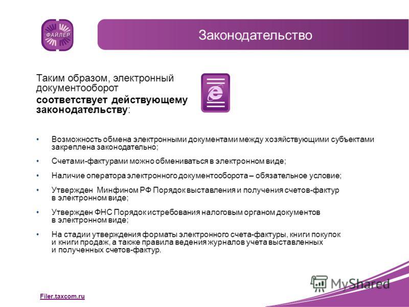 Filer.taxcom.ru Таким образом, электронный документооборот соответствует действующему законодательству: Возможность обмена электронными документами между хозяйствующими субъектами закреплена законодательно; Счетами-фактурами можно обмениваться в элек