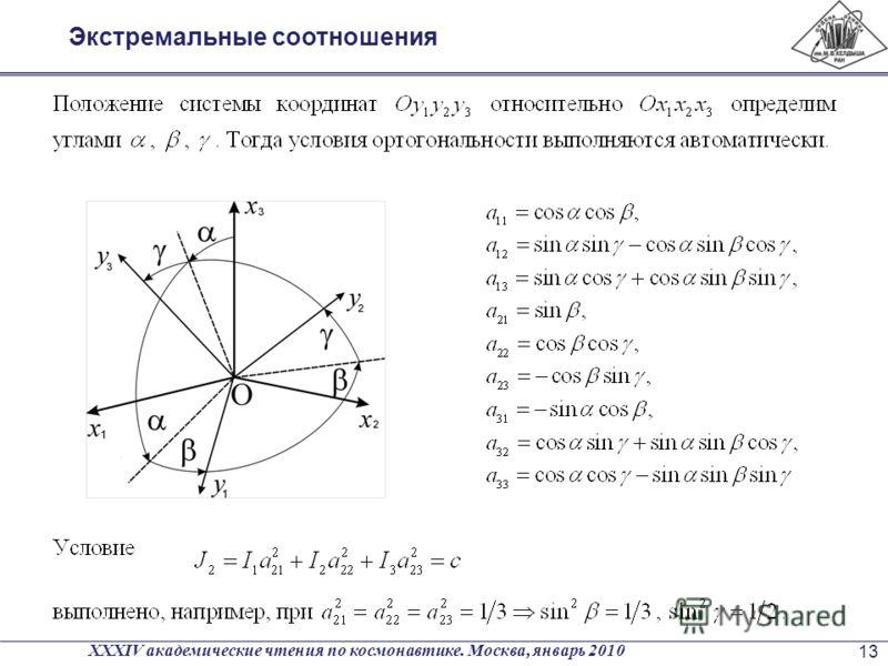Экстремальные соотношения XXXIV академические чтения по космонавтике. Москва, январь 2010 13