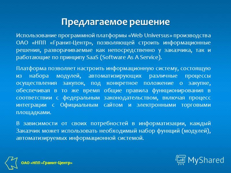 Предлагаемое решение Использование программной платформы «Web Universus» производства ОАО «НПП «Гранит-Центр», позволяющей строить информационные решения, разворачиваемые как непосредственно у заказчика, так и работающие по принципу SaaS (Software As