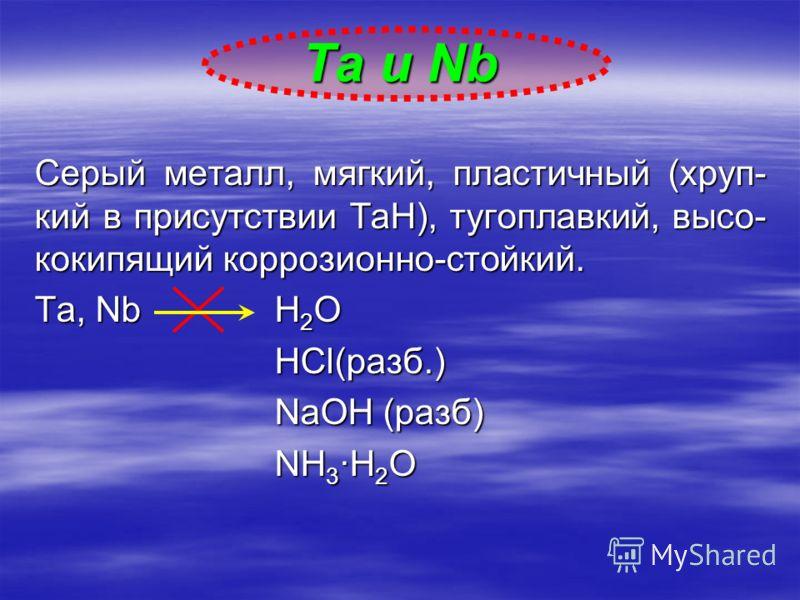 Серый металл, мягкий, пластичный (хруп- кий в присутствии ТаН), тугоплавкий, высоко кипящий коррозионно-стойкий. Ta, NbH 2 O HCl(разб.) NaOH (разб) NH 3 ·H 2 O Ta и Nb