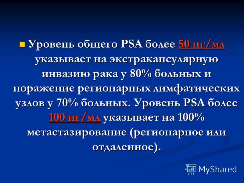 Уровень общего PSA более 50 нг/мл указывает на экстракапсулярную инвазию рака у 80% больных и поражение регионарных лимфатических узлов у 70% больных. Уровень PSA более 100 нг/мл указывает на 100% метастазирование (регионарное или отдаленное). Уровен