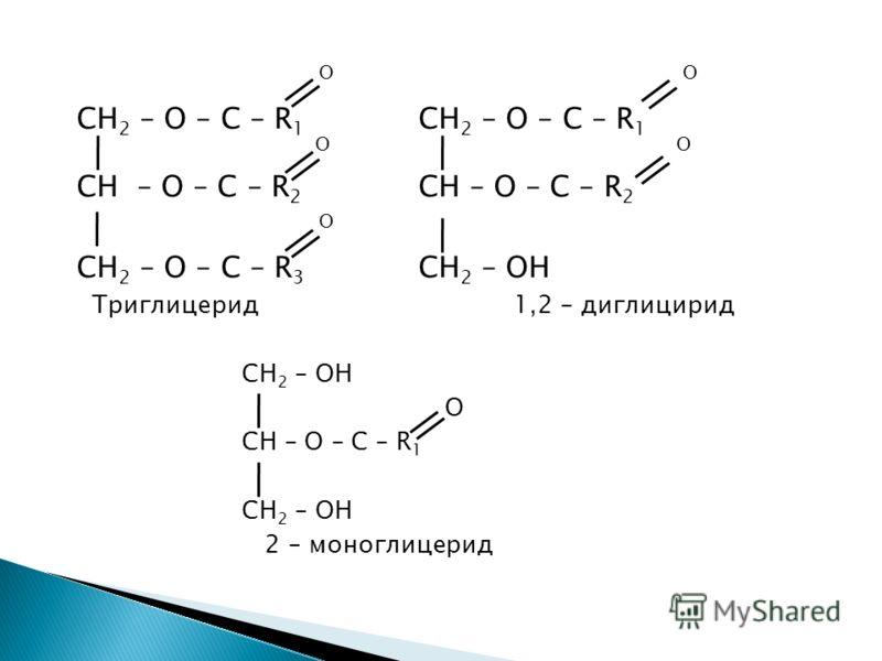 O CH 2 – O – C – R 1 O O CH – O – C – R 2 O CH 2 – O – C – R 3 CH 2 – OH Триглицерид 1,2 – диглицирид CH 2 – OH О CH – O – C – R 1 CH 2 – OH 2 – моноглицерид