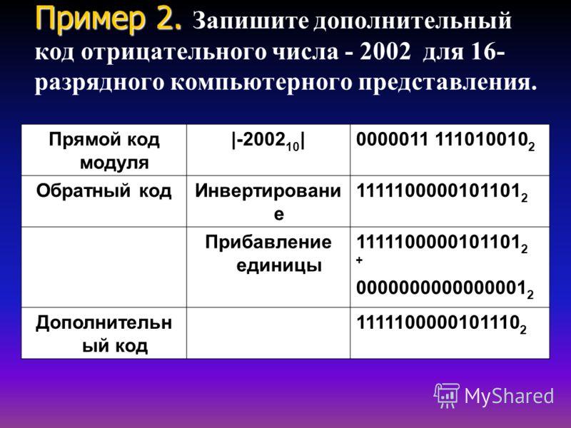 Пример 2. Пример 2. Запишите дополнительный код отрицательного числа - 2002 для 16- разрядного компьютерного представления. Прямой код модуля |-2002 10 |0000011 111010010 2 Обратный код Инвертировани е 1111100000101101 2 Прибавление единицы 111110000