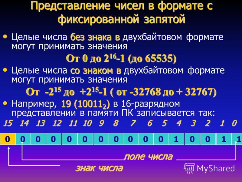 Представление чисел в формате с фиксированной запятой Целые числа без знака в двухбайтовом формате могут принимать значения Целые числа без знака в двухбайтовом формате могут принимать значения От 0 до 2 16 -1 (до 65535) Целые числа со знаком в двухб