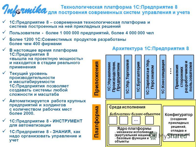 Технологическая платформа 1С:Предприятие 8 для построения современных систем управления и учета 1С:Предприятие 8 – современная технологическая платформа и система построенных на ней прикладных решений Пользователи - более 1 000 000 предприятий, более