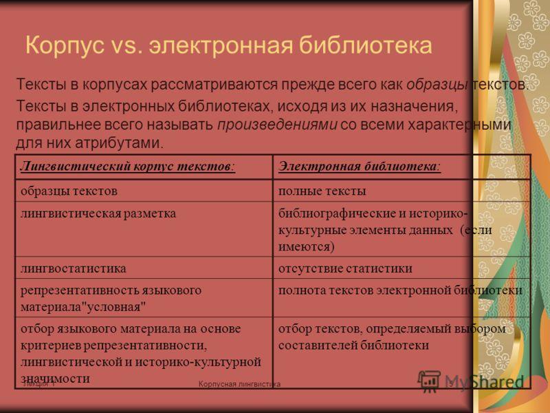 Лекция 1 Корпусная лингвистика5 Корпус vs. электронная библиотека Тексты в корпусах рассматриваются прежде всего как образцы текстов. Тексты в электронных библиотеках, исходя из их назначения, правильнее всего называть произведениями со всеми характе