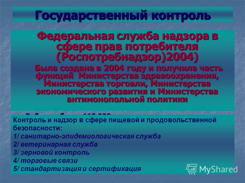 Государственный контроль Федеральная служба надзора в сфере прав потребителя (Роспотребнадзор)2004) Была создана в 2004 году и получила часть функций Министерства здравоохранения, Министерства торговли, Министерства экономического развития и Министер