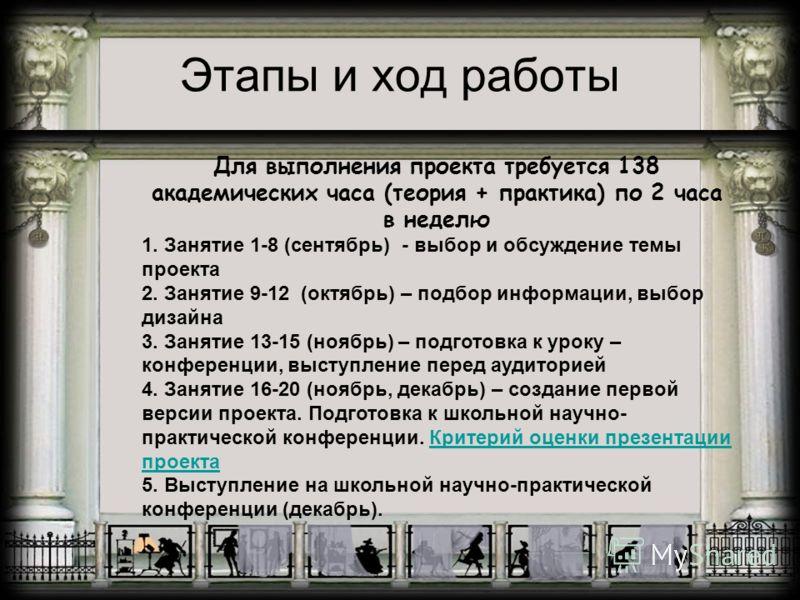 Этапы и ход работы Для выполнения проекта требуется 138 академических часа (теория + практика) по 2 часа в неделю 1. Занятие 1-8 (сентябрь) - выбор и обсуждение темы проекта 2. Занятие 9-12 (октябрь) – подбор информации, выбор дизайна 3. Занятие 13-1