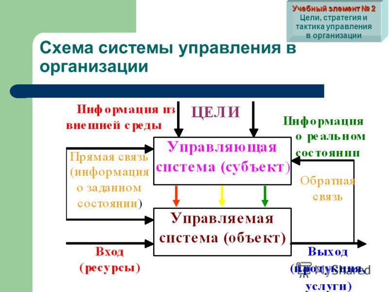 Схема системы управления в организации Учебный элемент 2 Учебный элемент 2 Цели, стратегия и тактика управления в организации