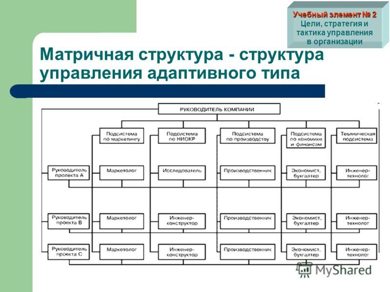 Матричная структура - структура управления адаптивного типа Учебный элемент 2 Учебный элемент 2 Цели, стратегия и тактика управления в организации