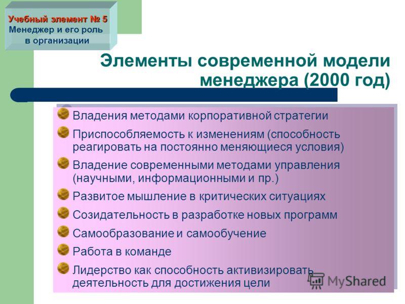 Элементы современной модели менеджера (2000 год) Владения методами корпоративной стратегии Приспособляемость к изменениям (способность реагировать на постоянно меняющиеся условия) Владение современными методами управления (научными, информационными и
