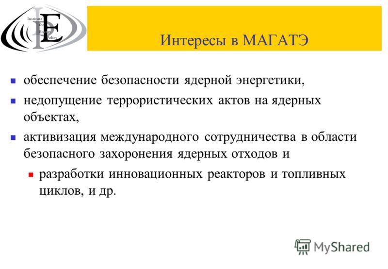 Интересы в МАГАТЭ обеспечение безопасности ядерной энергетики, недопущение террористических актов на ядерных объектах, активизация международного сотрудничества в области безопасного захоронения ядерных отходов и разработки инновационных реакторов и